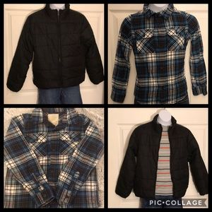Other - Boys Puffer Jacket & Plaid Flannel Top